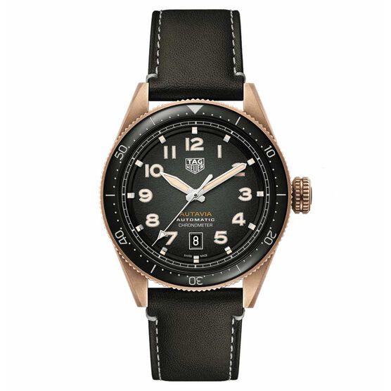 TAG Heuer Autavia Calibre 5 COSC Mens Khaki Leather Watch