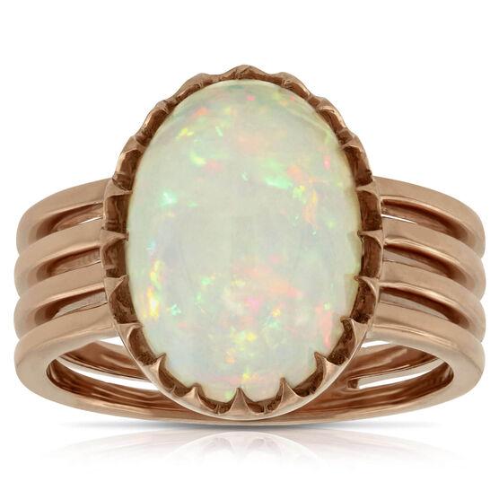 Rose Gold Opal Ring 14K