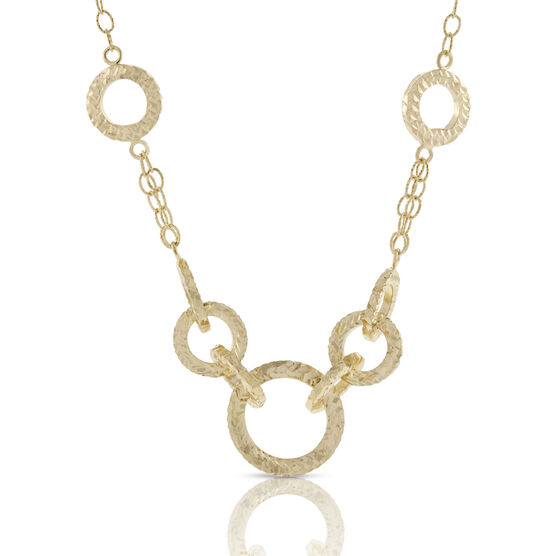 Toscano Textured Golden Rings Necklace 18K