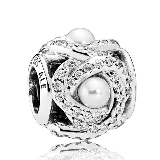 PANDORA Luminous Love Knot Crystal Pearl &  CZ Charm