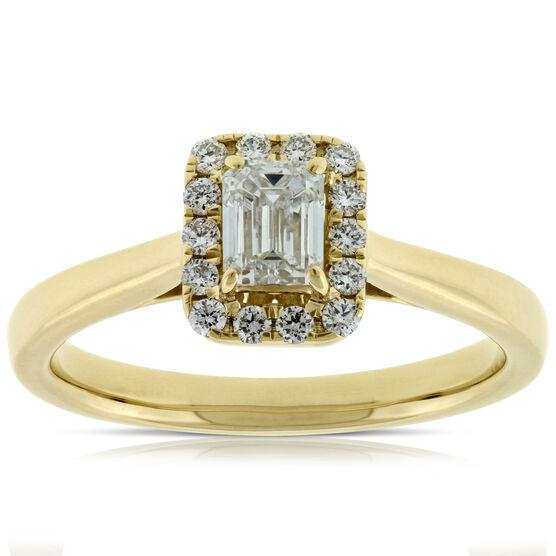Emerald Cut Halo Ring 14K