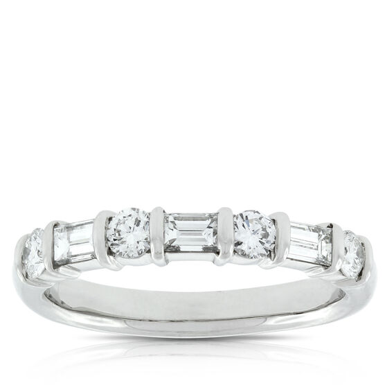 Baguette & Round Diamond Ring in Platinum, 3/4 ctw.