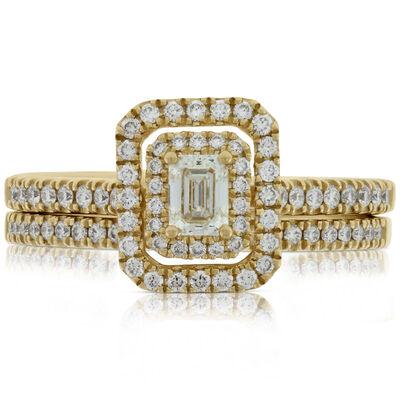 Emerald Cut Diamond Halo Bridal Set 14K