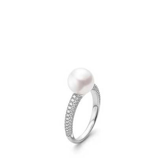 Mikimoto Akoya Cultured Pearl & Diamond Ring 18K