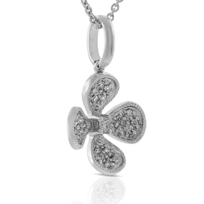 Diamond Flower Pendant 14K