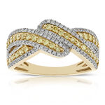 Yellow & White Entwined Diamond Band 14K