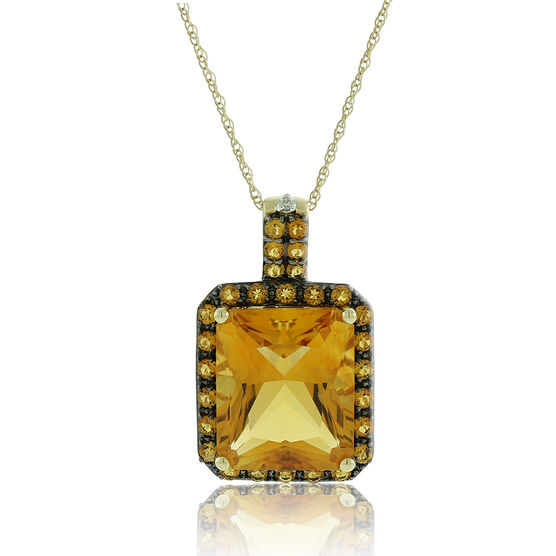 Emerald Cut Citrine & Diamond Necklace 14K