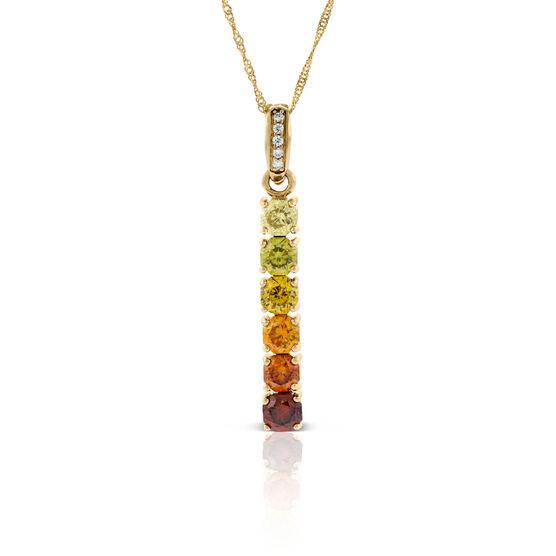 Graduated Color Sphalerite & Diamond Necklace 14K