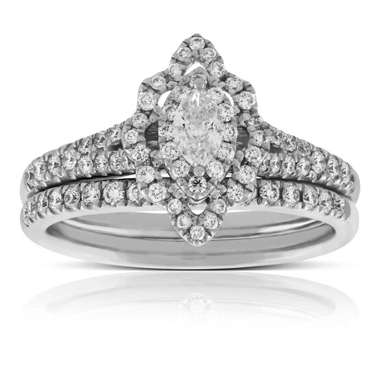 Marquise Cut Diamond Wedding Set 14K