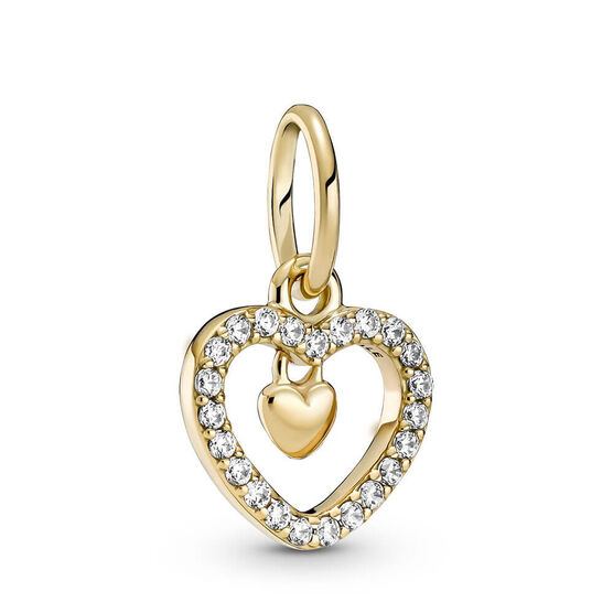Pandora Sparkling Double Heart CZ Dangle Charm 14K