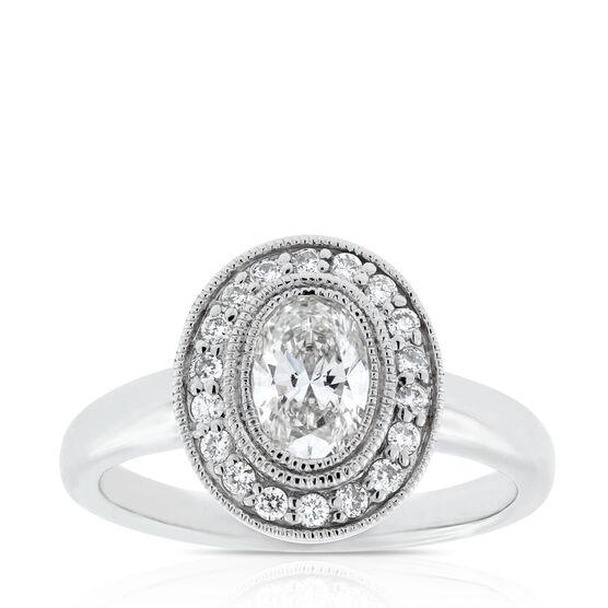 Oval Halo Diamond Ring 14K