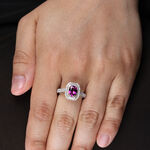 Purple Garnet & Diamond Ring 14K