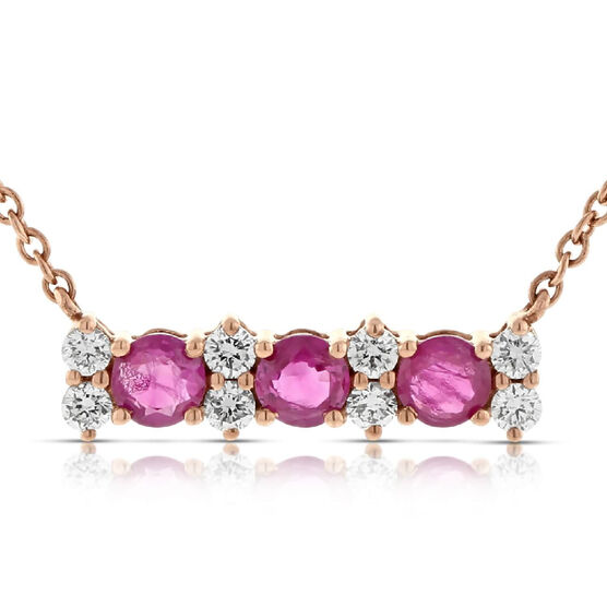 Rose Gold Ruby & Diamond 3-Stone Bar Necklace 14K