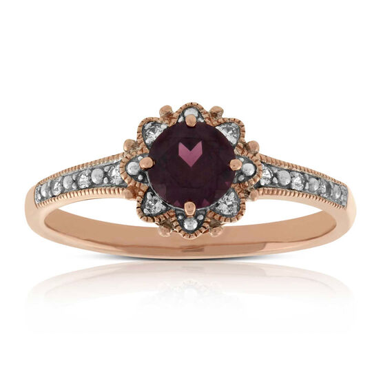 Rose Gold Garnet & White Sapphire Ring 14K