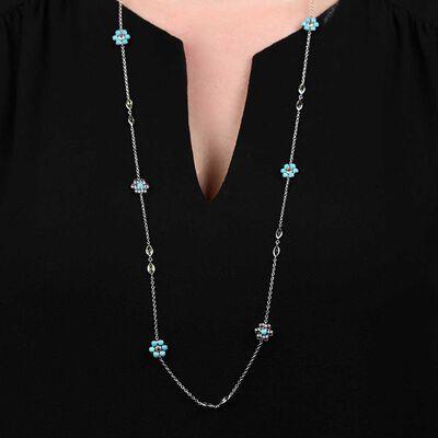 """Lisa Bridge Turquoise & Peridot Flower Station Necklace, 36"""""""