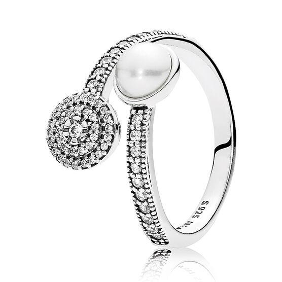PANDORA Luminous Glow Crystal Pearl &  CZ Ring