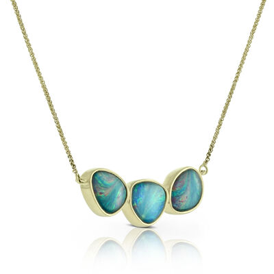 Three Stone Opal Doublet Necklace 14K