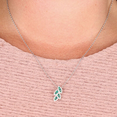 Emerald & Diamond Halo Leaf Pendant 14K