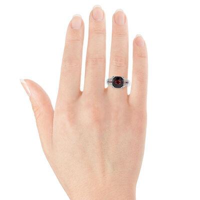 Cushion Garnet, Tourmaline & Diamond Ring 14K