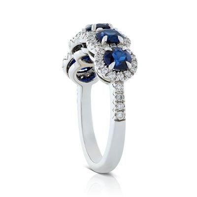 5-Stone Sapphire & Diamond Halo Ring 18K