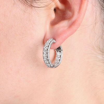 Triple Row Diamond Hoop Earrings 14K, 4 ctw.