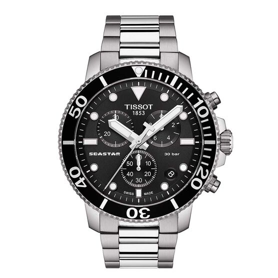 Tissot Seastar 1000 Chronograph Black Dial Watch, 45mm