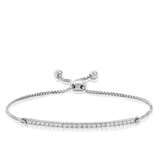 Diamond Bar Bolo Bracelet 14K