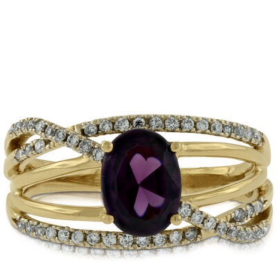 Garnet & Diamond Band 14K