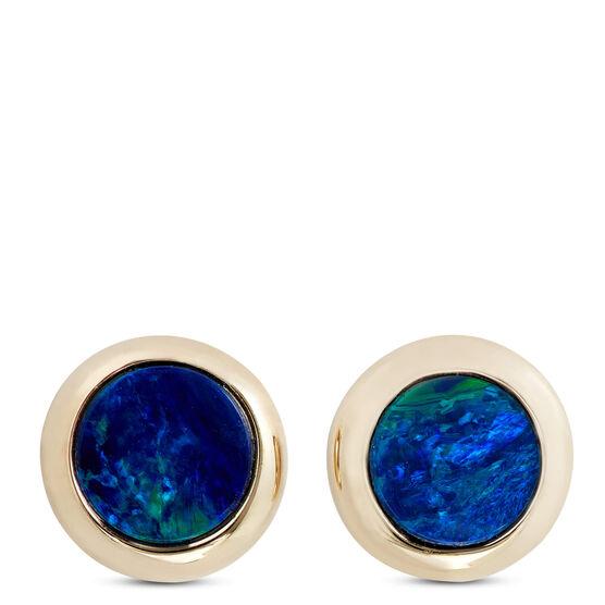 Opal Doublet Bezel Set Earrings 14K