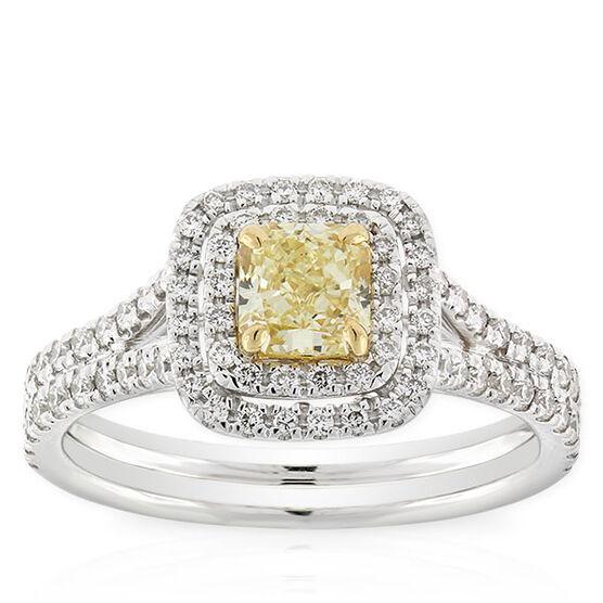 Radiant Cut Yellow Diamond Halo Ring .60 Ct. Center, 18K