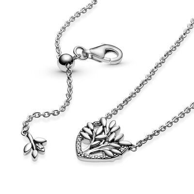 Pandora Heart Family Tree CZ Collier Necklace