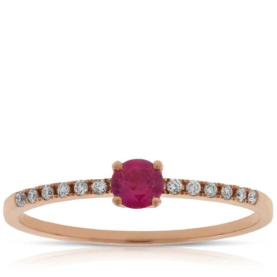 Rose Gold Ruby & Diamond Ring 14K