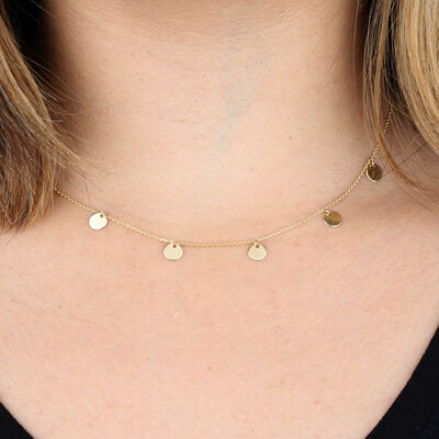 Disc Choker Necklace 14K