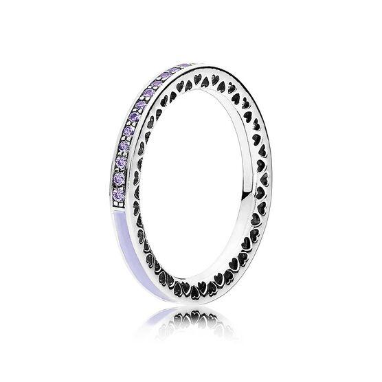 PANDORA Hearts of Pandora Lavender Enamel CZ Ring