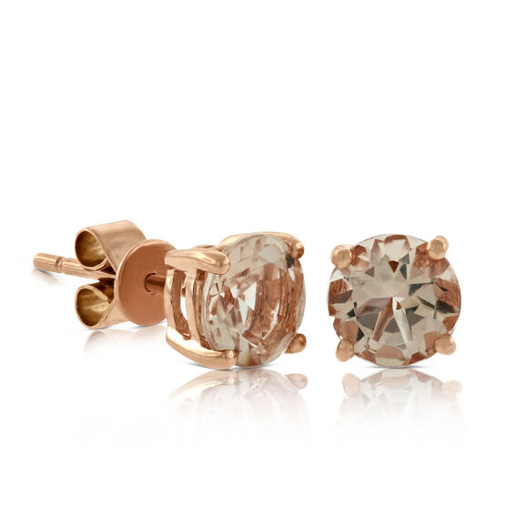 Rose Gold Morganite Stud Earrings 14K