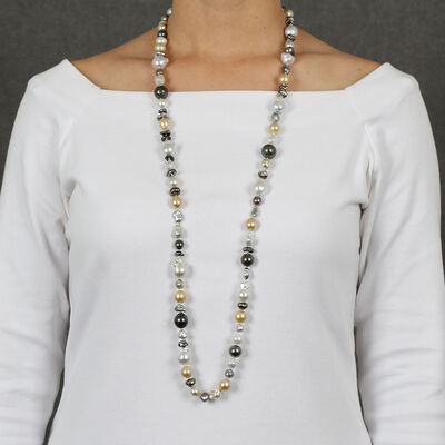 Cultured Baroque South Sea, Tahitian & Freshwater Pearl Strand 18K