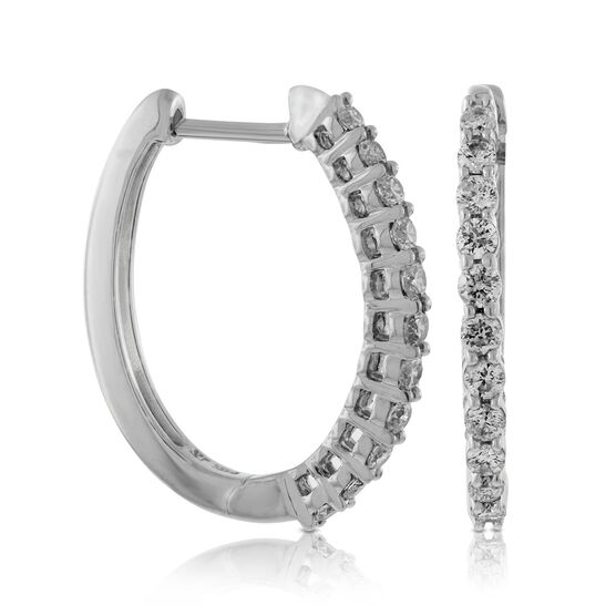 Oval Diamond Hoop Earrings 14K, 1/2 ctw.