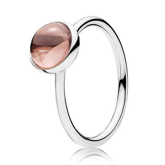 PANDORA Poetic Droplet Blush Pink Crystal Ring