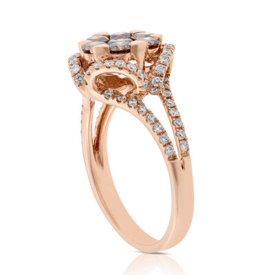Rose Gold Brown & White Diamond Ring 14K