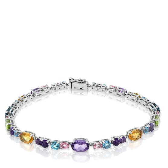 Multi-Gemstone Line Bracelet 14K