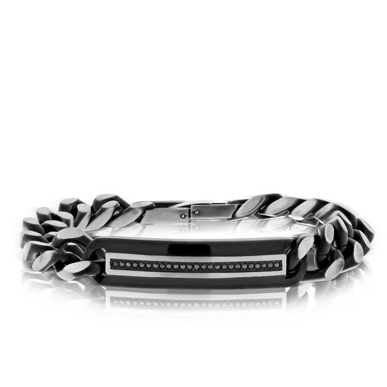 Black IP Black Diamond Bracelet in Stainless Steel