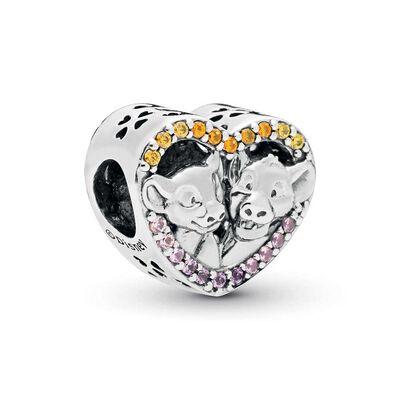PANDORA Disney, Sparkling Simba & Nala Heart Crystal & CZ Charm