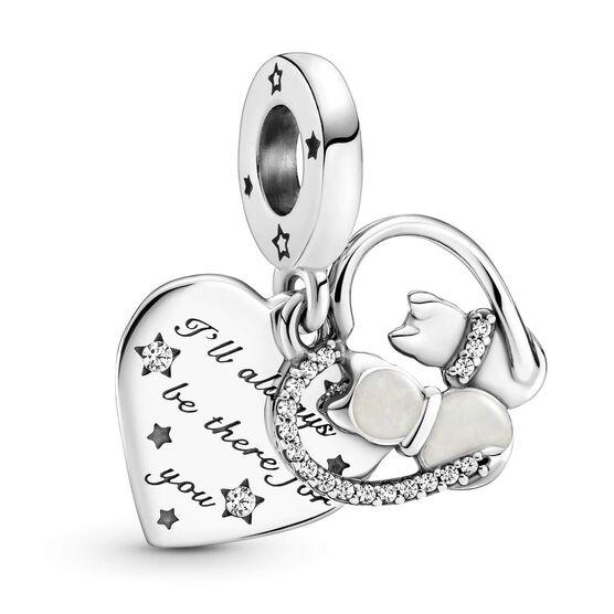Pandora Cats & Hearts Enamel & CZ Dangle Charm