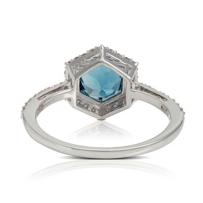 Blue Topaz & Diamond Hexagon Halo Ring 14K