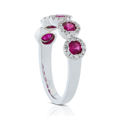 Round 5-Stone Ruby & Diamond Halo Ring 14K