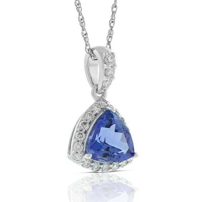 Trillion Cut Tanzanite & Diamond Halo Necklace 14K