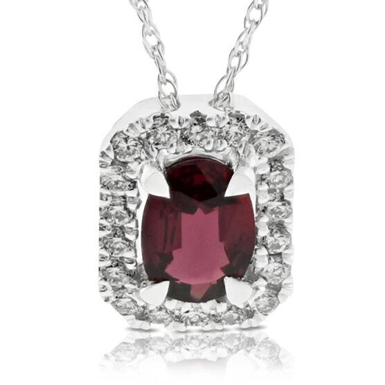 Oval Ruby & Diamond Halo Pendant 14K