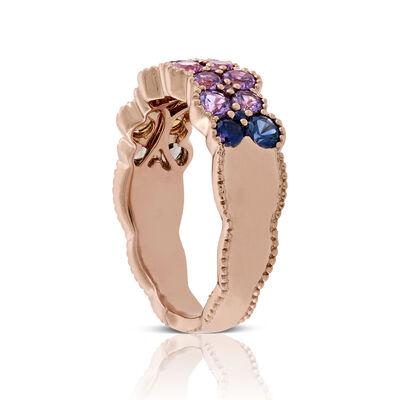 Rose Gold Rainbow Sapphire Ring 14K