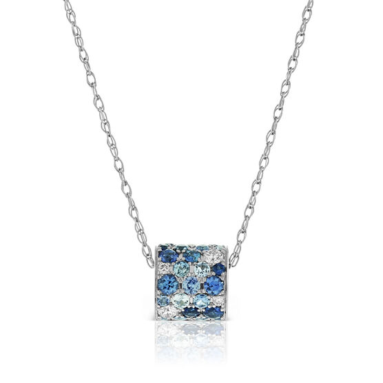 White & Blue Sapphire & Diamond Pavé Barrel Necklace 14K