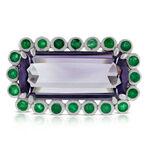 Lisa Bridge Amethyst & Emerald Ring